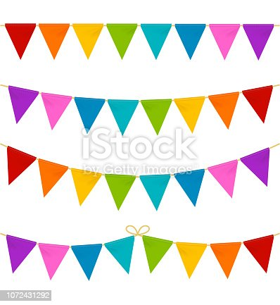 Realistic 3d Detailed Hanging Color Buntings Garland Flag Set Different Type for Celebrate Holiday, Fair or Festival. Vector illustration