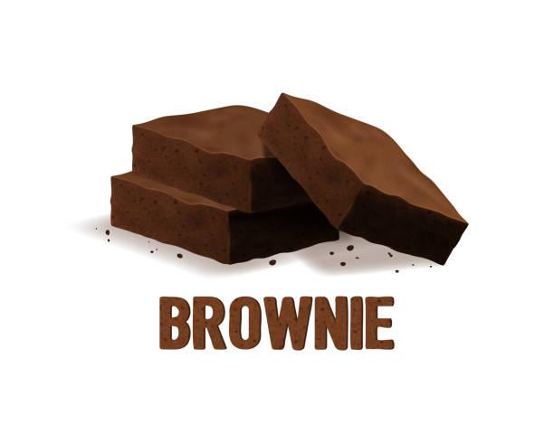 bildbanksillustrationer, clip art samt tecknat material och ikoner med realistiska 3d detaljerade choklad brownies concept banner kort bakgrund. vektor - brownie