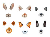 Realistic 3d Detailed Different Video Chat Effects Animal Faces Set Include of Rabbit, Cat and Dog. Vector illustration