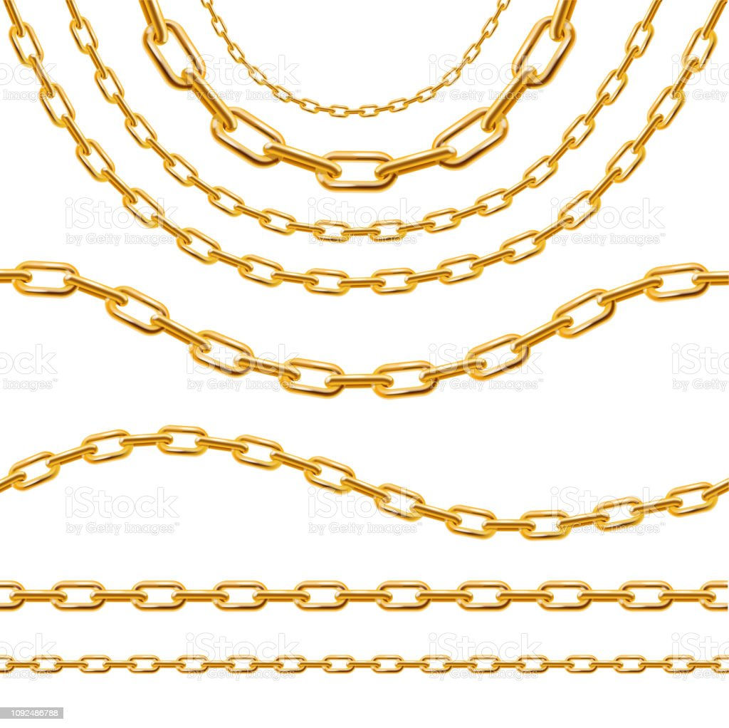 Realistic 3d Detailed Golden Chain Set Vector Stock ...  Chain Vector