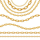 Realistic 3d Detailed Golden Chain Set. Vector