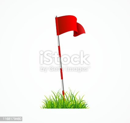 Realistic 3d Detailed Golf Red Flag Pole with Green Grass for Sport Game on a White Background. Vector illustration