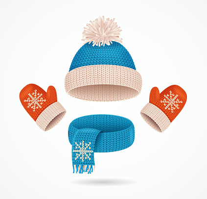 Realistic 3d Detailed Hat, Scarf and Mittens Set. Vector