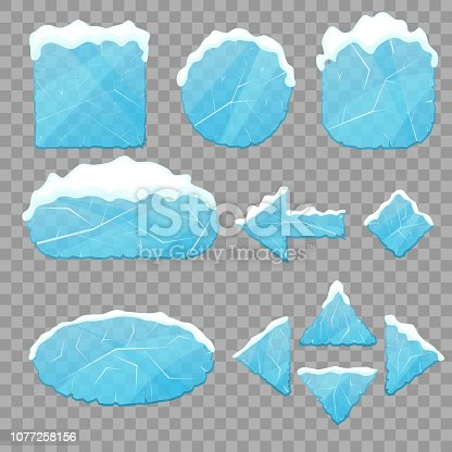 Realistic 3d Detailed Ice Buttons Set on a Transparent Background. Vector illustration of Button and Winter Snow Cap