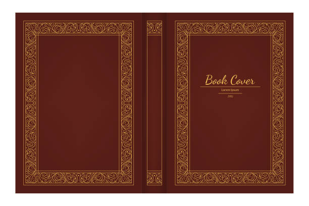 Realistic 3d Detailed Old Book Cover. Vector Realistic 3d Detailed Old Book Cover with Golden Decorative Vintage Frame and Name. Vector illustration of Hardcover book borders stock illustrations