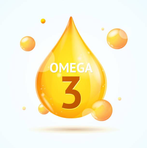 사실적인 3d 상세한 오메가 지방 방울. 벡터 - vitamin d stock illustrations