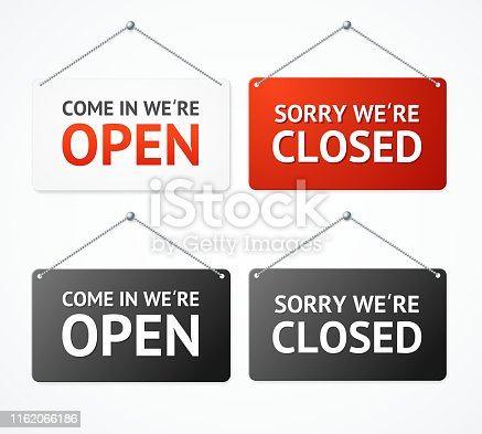 Realistic 3d Detailed Open and Closed Signs Set for Door. Vector illustration of Informative Signboard for Business