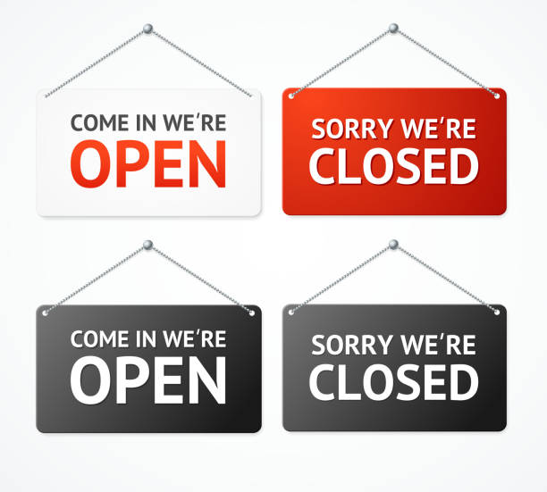 realistic 3d detailed open and closed signs set. vector - прикрывать stock illustrations