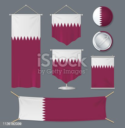 Realistic 3d Detailed Qatar Flag Banner Set Portable Different Type Shape and Size. Vector illustration of Qatari Flags