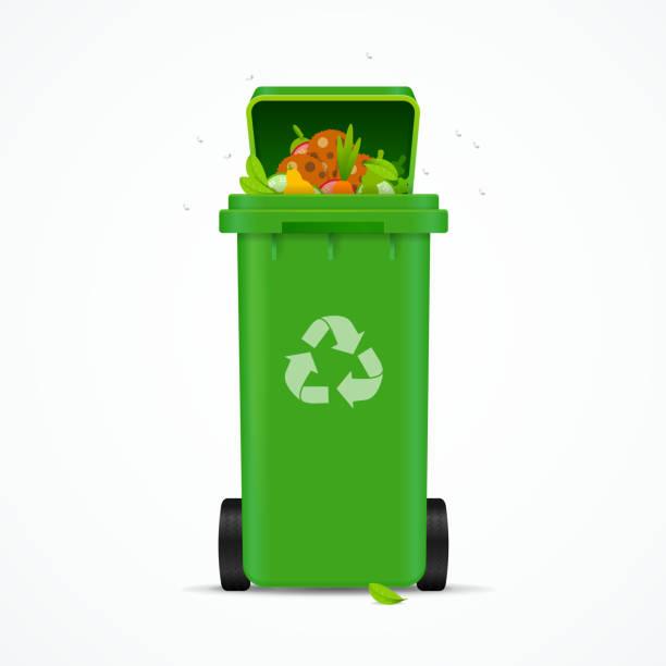 bildbanksillustrationer, clip art samt tecknat material och ikoner med realistiska 3d detaljerade återvunnet bin. vektor - food waste