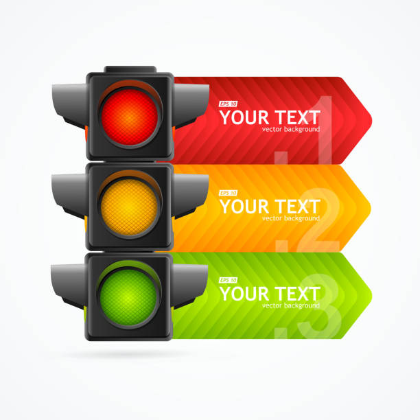 realistic 3d detailed road traffic light banner card. vector - stoplights stock illustrations, clip art, cartoons, & icons