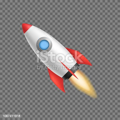 istock Realistic 3d Detailed Rocket Space Ship. Vector 1067411918