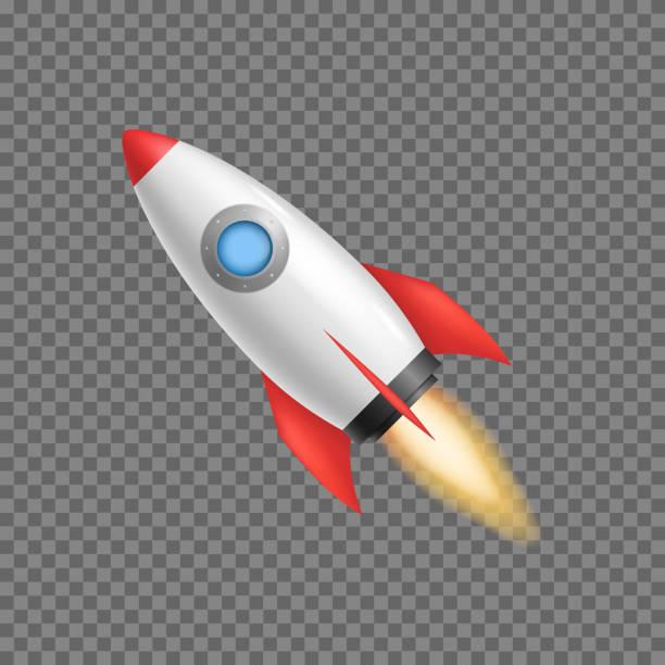 ilustrações, clipart, desenhos animados e ícones de nave espacial realista 3d detalhados do foguete. vector - foguete espacial