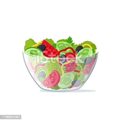 istock Realistic 3d Detailed Salad Fresh Vegetables in Transparent Glass Dish. Vector 1183041351