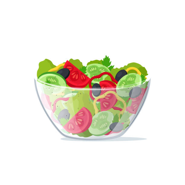 Realistic 3d Detailed Salad Fresh Vegetables in Transparent Glass Dish. Vector Realistic 3d Detailed Salad Fresh Vegetables in Transparent Glass Dish Include of Tomato, Lettuce and Cucumber. Vector illustration salad bowl stock illustrations