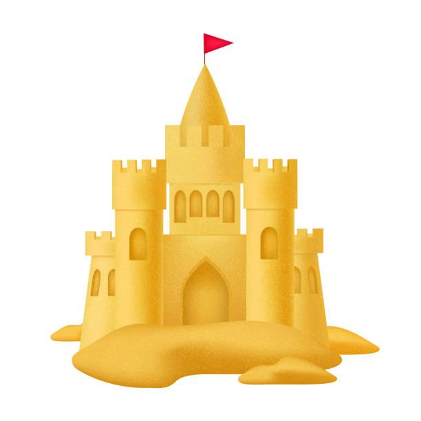 illustrations, cliparts, dessins animés et icônes de château de sable avec indicateur en détail 3d réaliste. vector - chateau de sable