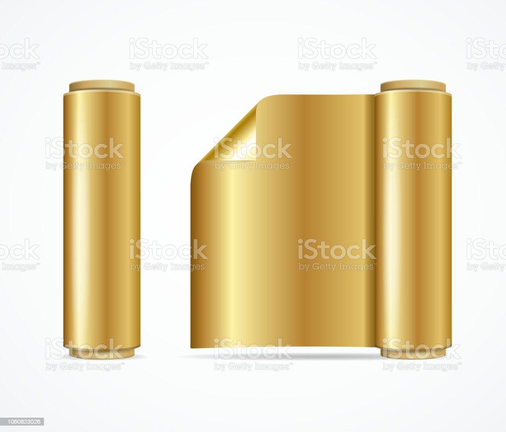 Realistic 3d Detailed Shiny Gold Foil Roll. Vector vector art illustration