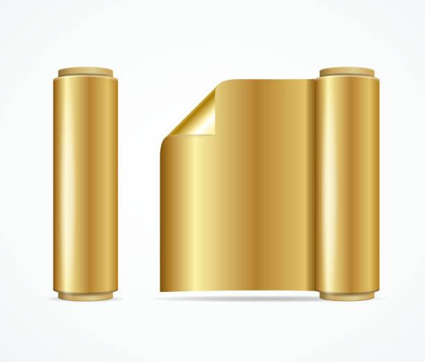 realistic 3d detailed shiny gold foil roll. vector - aluminum foil roll stock illustrations, clip art, cartoons, & icons