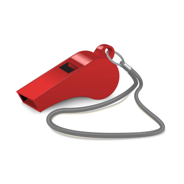 illustrazioni stock, clip art, cartoni animati e icone di tendenza di realistic 3d detailed shiny metallic red whistle. vector - fischietto