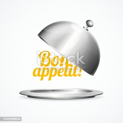 Realistic 3d Detailed Shiny Metallic Restaurant Cloche with Inscription Bon Appetit Plate and Cover Dishware. Vector illustration