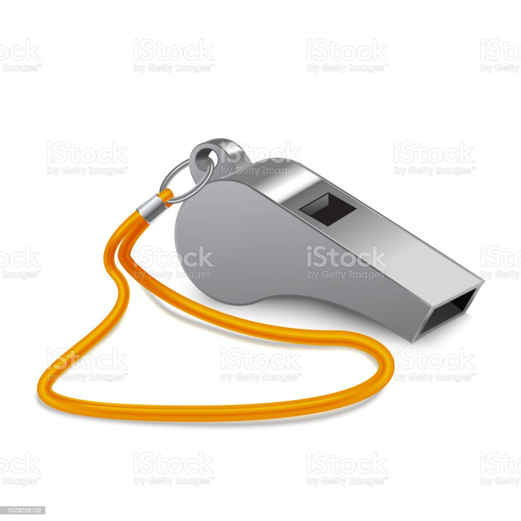 Realistic 3d Detailed Shiny Metallic Whistle. Vector royalty-free realistic 3d detailed shiny metallic whistle vector stock illustration - download image now