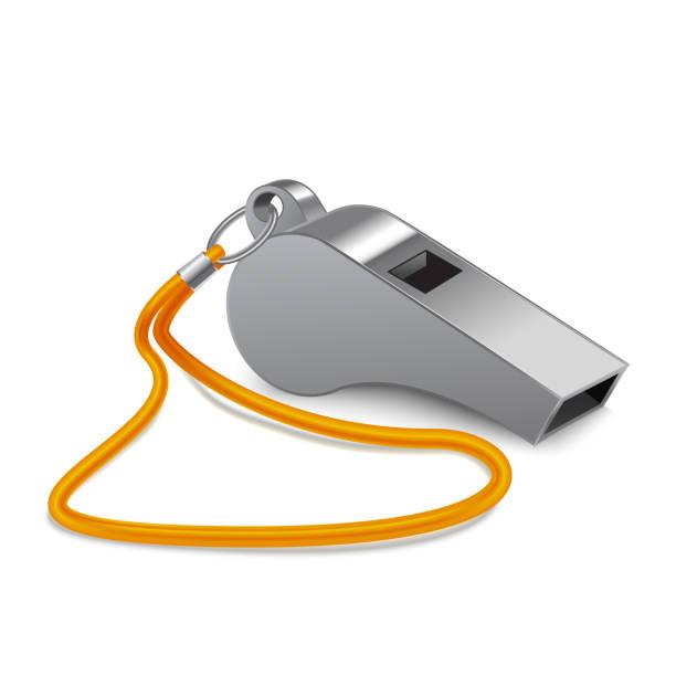 illustrazioni stock, clip art, cartoni animati e icone di tendenza di realistic 3d detailed shiny metallic whistle. vector - fischietto