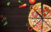 Realistic 3d Detailed Slice of Pizza with Different Type Ingredients on Wooden Background Card. Vector illustration
