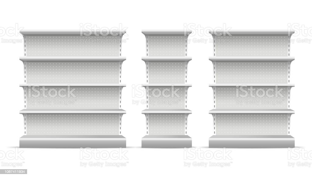 Realistic 3d Detailed Supermarket Shelves Set. Vector - Royalty-free Admirar a Vista arte vetorial
