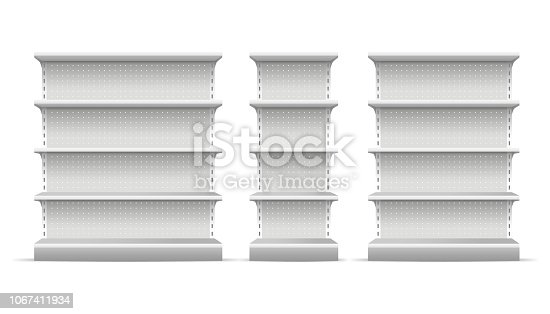 Realistic 3d Detailed White Blank Supermarket Shelves Empty Template Mockup Set. Vector illustration of Mock Up Shelve