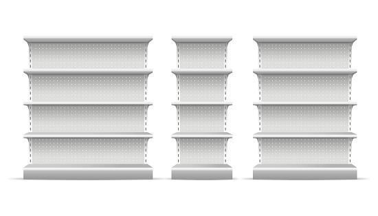 Realistic 3d Detailed Supermarket Shelves Set Vector - Arte vetorial de stock e mais imagens de Admirar a Vista