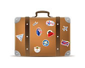 Realistic 3d Detailed Vintage Leather Suitcase with Travel Stickers and Labels Isolated on a White Background. Vector illustration