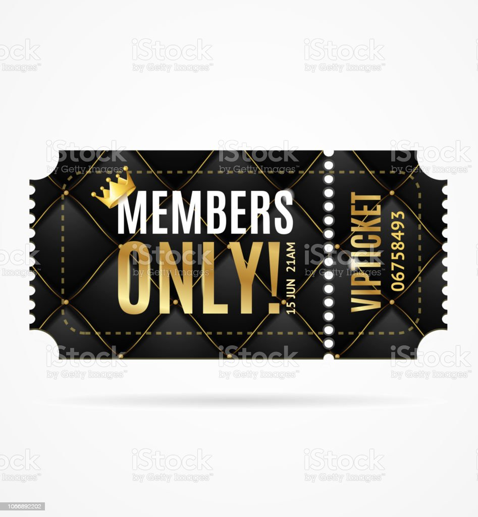 Realistic 3d Detailed Vip Ticket Members Only with Black Quilted...