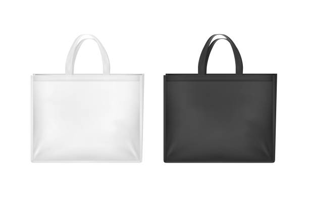 realistic 3d detailed white and black blank tote sale bags set. vector - torba stock illustrations