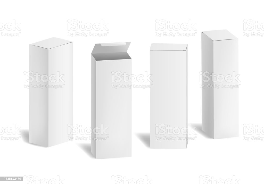Realistic 3d Detailed White Blank Cardboard Cosmetic Boxes Template...