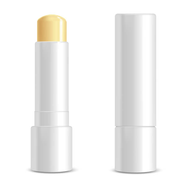 Realistic 3d Detailed White Blank Lip Balm Stick Template Mockup Set. Vector Realistic 3d Detailed White Blank Lip Balm Stick Template Mockup Set Female Cosmetic for Care. Vector illustration of Lipstick lipstick stock illustrations