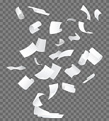 Realistic 3d Detailed White Blank Empty Flying Papers on a Transparent Background. Vector illustration of Falling Paper