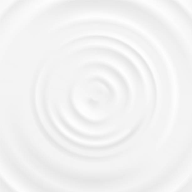 Realistic 3d Detailed White Milk Round Ripples. Vector Realistic 3d Detailed White Milk Round Ripples Top Closeup View. Vector illustration of Curved Surface Dairy Product rippled stock illustrations