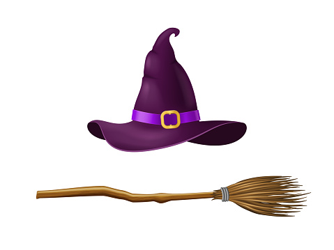 Realistic 3d Detailed Witch Hat and Broom Set. Vector