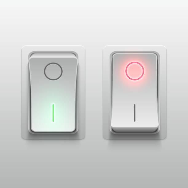 realistische 3d elektro kippschalter vektor-illustration - schalter stock-grafiken, -clipart, -cartoons und -symbole