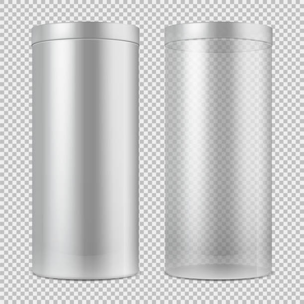 Realistic 3d empty transparent glass jar and and white can with lid. Package for food, cookies and gifts vector template isolated Realistic 3d empty transparent glass jar and and white can with lid. Package for food, cookies and gifts vector template isolated. Container object design isolated on translucent illustration cylinder stock illustrations