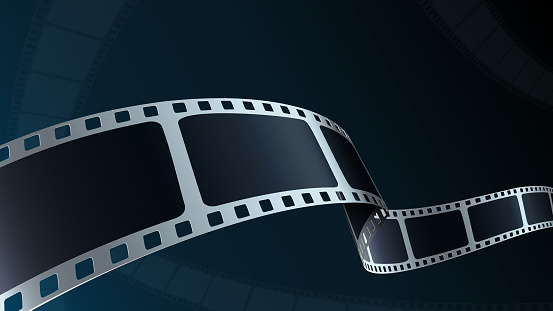 Realistic 3d Film strip cinema on blue background with place for text. Modern 3d isometric film strip in perspective. Vector cinema festival. Movie template for festival poster, backdrop, brochure.