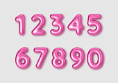 Realistic 3d font color pink numbers. Number in the form of metal balloons. Template for products, advertizing, web banners, leaflets, certificates and postcards. Vector illustration.