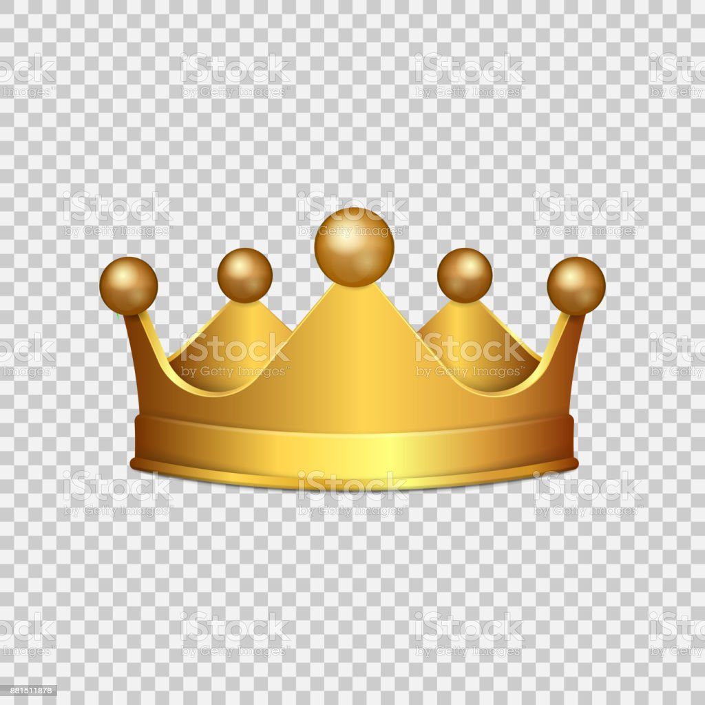 Realistic 3d Gold Crown Isolated On Transparent Background ...