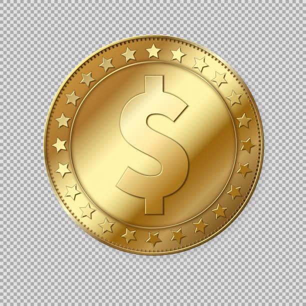 ilustrações, clipart, desenhos animados e ícones de moeda de ouro do dólar 3d realista isolada - moeda