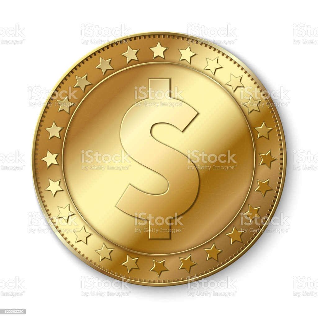 Realistische 3d Golddollarvektor Münze Isoliert Auf Weiss