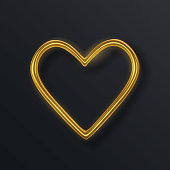 Realistic 3d gold metallic heart. Happy Valentines Day greeting card. Love and wedding. Graphic element for design. Vector illustration