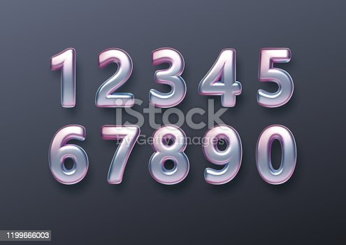 Realistic 3d golden font color rainbow holographic numbers isolated on black background. Design element for holiday greeting flyers, banners, certificates, postcards. Vector illustration EPS10