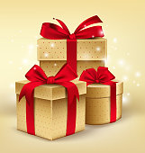 Realistic 3D Golden Gifts with Colorful Red Ribbons Wrap with Dotted Pattern for Birthday or Christmass Celebration in White Background. Editable Vector Illustration.