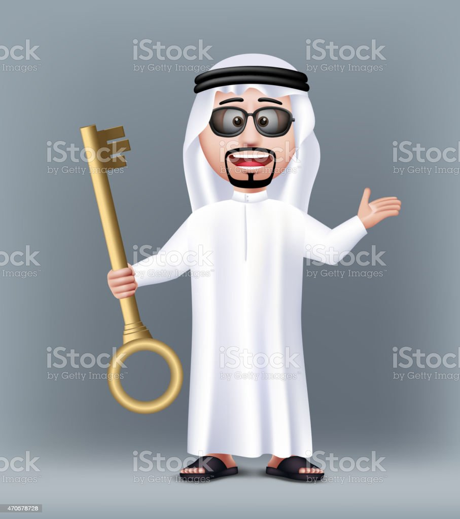 Realistic 3D Handsome Saudi Arab Man Character Wearing vector art illustration