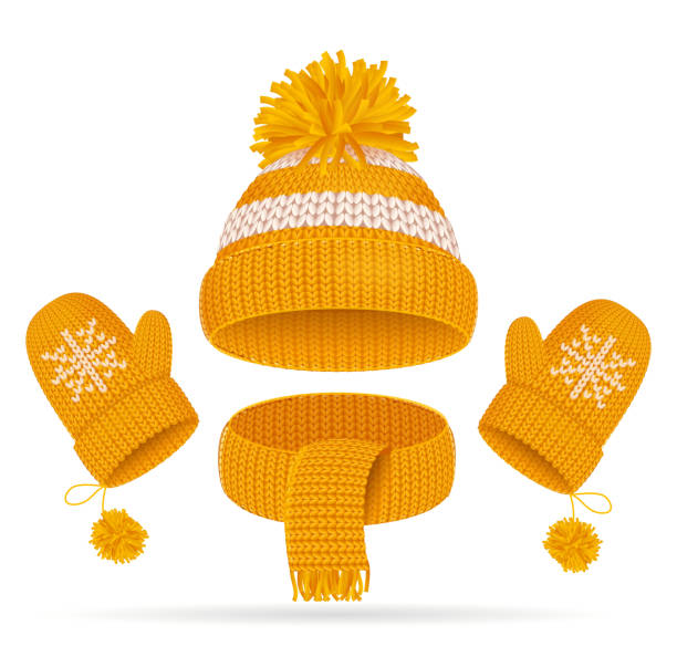 Realistic 3d Hat with a Pompom, Scarf and Mitten Set. Vector Realistic 3d Yellow Hat with a Pompom, Scarf and Mitten Set Knitted Seasonal Winter Traditional Accessories with Ornament Vector illustration mitten stock illustrations